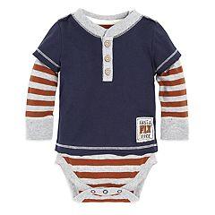 Baby Boy Burt's Bees Baby Organic Fast & Free Henley Mock Layer Bodysuit