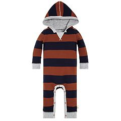 Baby Boy Burt's Bees Baby Organic Two Tone Striped Raglan Hooded Jumpsuit Coverall