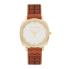 Women's Crystal Accent Perforated Leather Watch