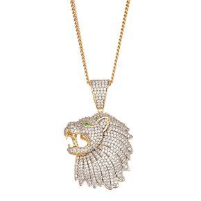 Men's 14k Gold Over Silver Cubic Zirconia Lion Pendant Necklace