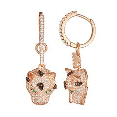 14k Rose Gold Over Silver Cubic Zirconia Panther Drop Earrings