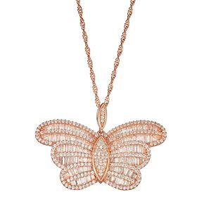 14k Rose Gold Over Silver Cubic Zirconia Butterfly Pendant Necklace