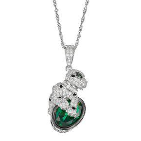 Sterling Silver Cubic Zirconia Panther Pendant Necklace