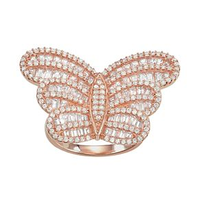 14k Rose Gold Over Silver Cubic Zirconia Butterfly Ring