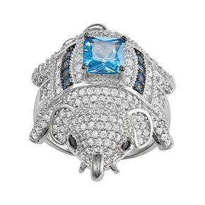 Sterling Silver Cubic Zirconia Elephant Ring