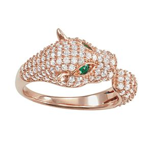 14k Rose Gold Over Silver Cubic Zirconia Panther Ring