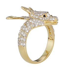 14k Gold Over Silver Cubic Zirconia Dragon Ring