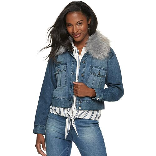Women's Jennifer Lopez Faux-Fur Collar Jean Jacket