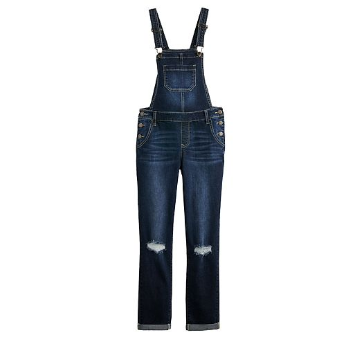 Girls 7-16 Vanilla Star Deconstructed Overalls