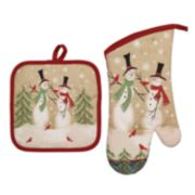 Avanti Tall Snowmen Pot Holder & Oven Mitt Set
