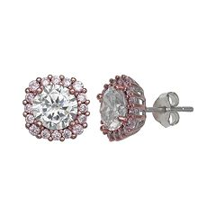 PRIMROSE Two Tone Sterling Silver Pink Cubic Zirconia Cushion Stud Earrings