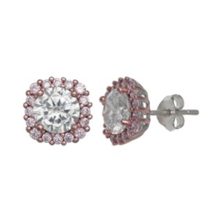PRIMROSE Two Tone Sterling Silver Pink Cubic Zirconia Cushion Stud Earrings