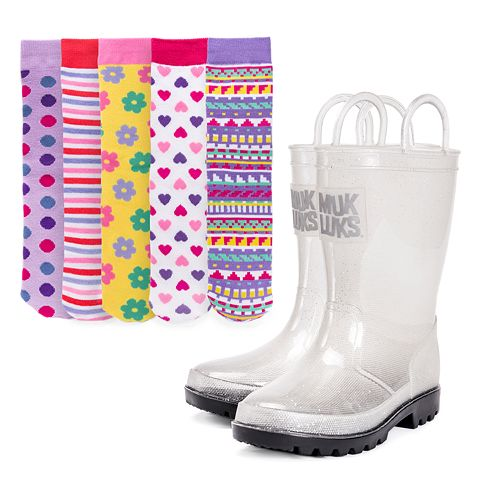 MUK LUKS Clear Molly Girls' Waterproof Rain Boots with 5-Pack Socks