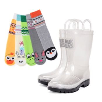 MUK LUKS Clear Molly Girls' Waterproof Rain Boots with 5-Pack Animal Socks