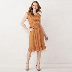 Petite LC Lauren Conrad Pleat Neck Midi Dress