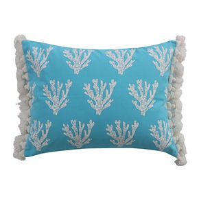 Levtex Lyra Reef Coral Block Print Tassel Throw Pillow