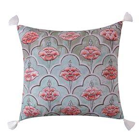 Levtex Spruce Coral Printed Cream Tassels Throw Pillow