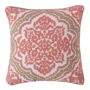 Levtex Spruce Coral Crewel Throw Pillow
