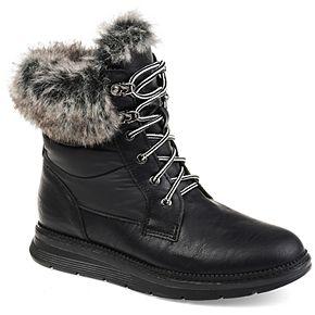 Journee Collection Flurry Women's Faux-Fur Lace-Up Boots