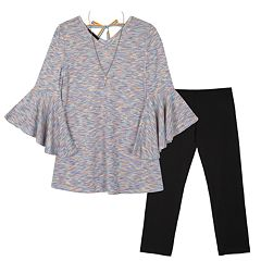 Girls 7-16 IZ Amy Byer French Terry Bell Sleeve Top & Legging Set with Necklace