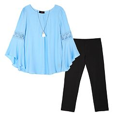 Girls 7-16 IZ Amy Byer Woven Bell Sleeve Top & Legging Set with Necklace