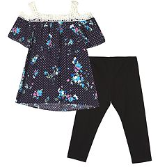 Girls 7-16 IZ Amy Byer Floral Cold Shoulder Top & Legging Set
