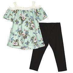 Girls 7-16 IZ Amy Byer Floral Cold Shoulder Top & Legging Set