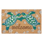 Liora Manne Natura Sea Turtle Welcome Indoor Outdoor Coir Doormat - 18'' x 30''