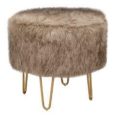 Intelligent Design Aster Faux Fur Round Stool