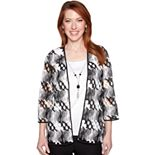 Petite Alfred Dunner Studio Necklace & Mock-Layer Open Weave Cardigan