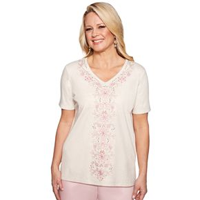 Petite Alfred Dunner Studio Beaded Floral Embroidered Top