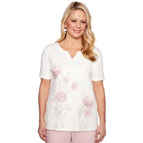 Petite Alfred Dunner Studio Embroidered Floral Top