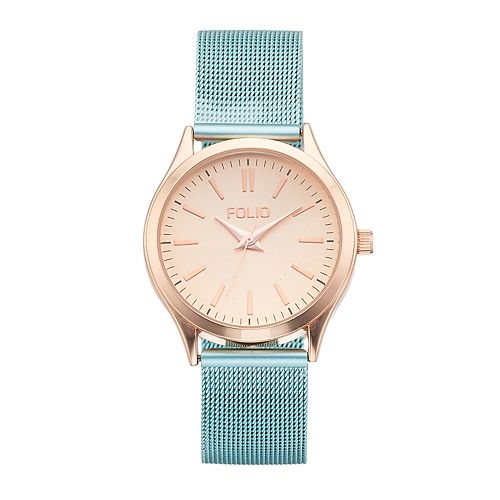 Women's Folio Blue Mesh Band Watch - FMDFOL134