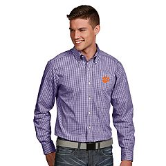 Men's Antigua Clemson Tigers Associate Plaid Shirt