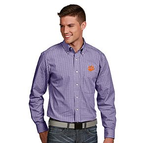 Men's Antigua Clemson Tigers Associate Plaid Shirt