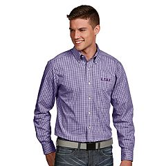 Men's Antigua LSU Tigers Associate Plaid Shirt