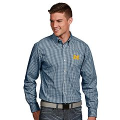Men's Antigua Michigan Wolverines Associate Plaid Shirt
