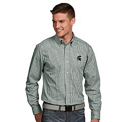 Men's Antigua Michigan State Spartans Associate Plaid Shirt
