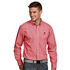Men's Antigua Wisconsin Badgers Associate Plaid Shirt