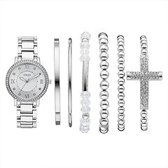 Women's Folio Crystal Accent Watch & Bracelet Set