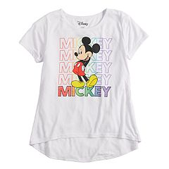 Disney's Girls 7-16 Mickey Rainbow Glitter Graphic Tee