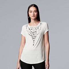 Women's Simply Vera Vera Wang Essential Print Embellished Tee