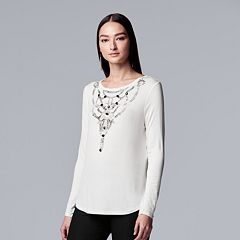 Women's Simply Vera Vera Wang Necklace-Trim Tee