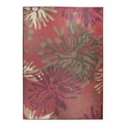 Ruggable® Washable Mum Red Floral 2-piece Indoor/outdoor Rug System