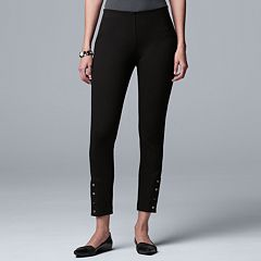 Petite Simply Vera Vera Wang Button-Hem Ponte Ankle Pants