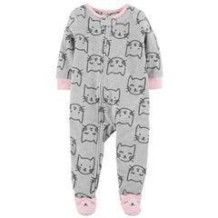 Baby Girl Carter's Printed Microfleece Footed Pajamas
