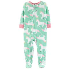 Baby Girl Carter's Printed Microfleece Footed Pajamas