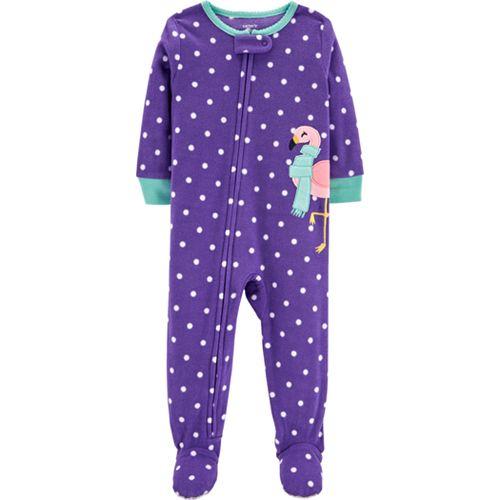 Baby Girl Carter's Polka-Dot Microfleece Footed Pajamas
