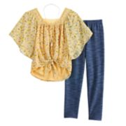 Girls 7-16 & Plus Size Knitworks Knotted Front Bell Sleeve Top & Leggings Set with Necklace
