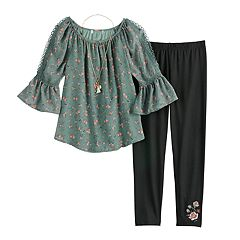 Girls 7-16 & Plus Size Knitworks Elbow Sleeve Top & Leggings Set with Necklace